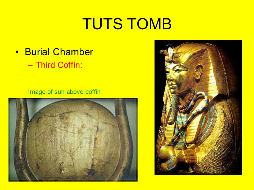 TUTS TOMB Burial Chamber Third Coffin: Image of sun above coffin