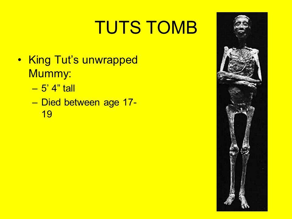 TUTS TOMB King Tut's unwrapped Mummy: 5' 4 tall