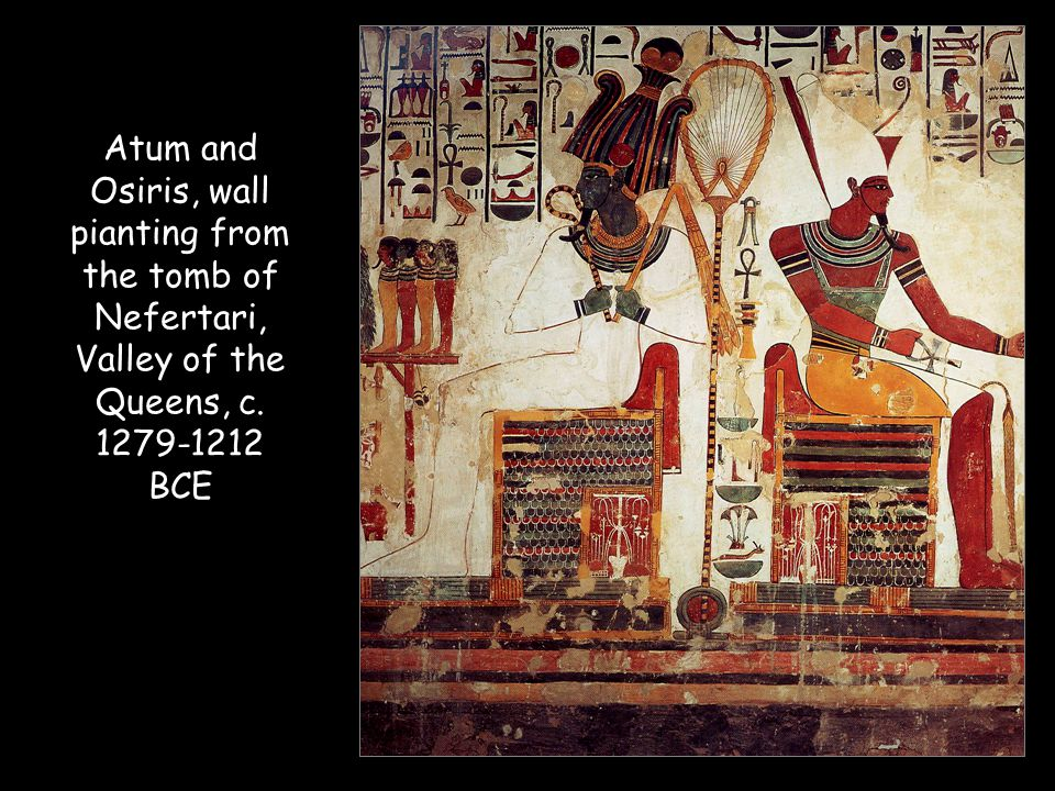Atum and Osiris, wall pianting from the tomb of Nefertari, Valley of the Queens, c. 1279-1212 BCE