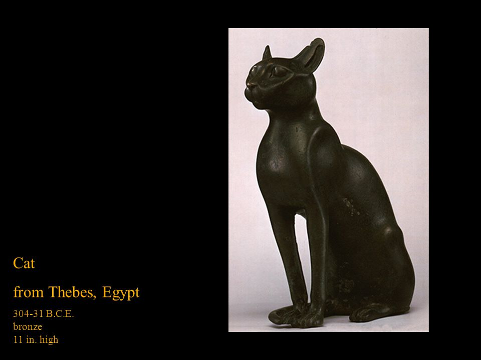 Cat from Thebes, Egypt B.C.E. bronze 11 in. high
