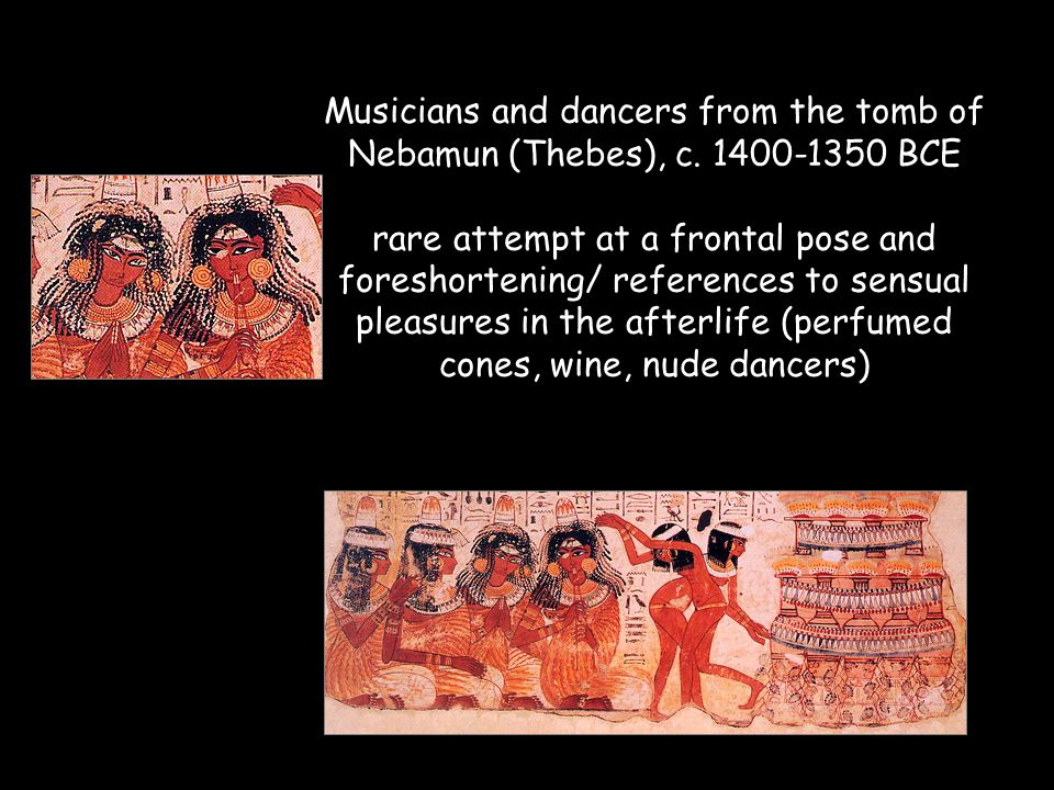 Musicians and dancers from the tomb of Nebamun (Thebes), c