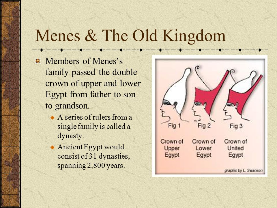 Menes & The Old Kingdom Members of Menes's family passed the double crown of upper and lower Egypt from father to son to grandson.