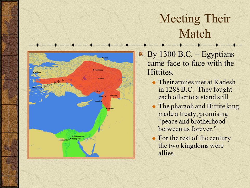 Meeting Their Match By 1300 B.C. – Egyptians came face to face with the Hittites.