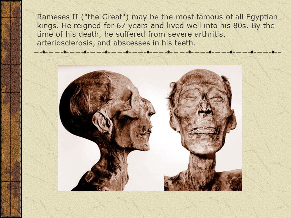 Rameses II ( the Great ) may be the most famous of all Egyptian kings