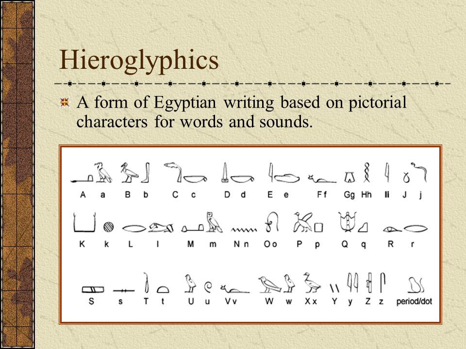 Hieroglyphics A form of Egyptian writing based on pictorial characters for words and sounds.