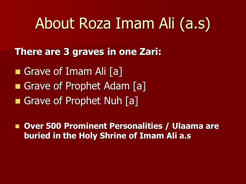 About Roza Imam Ali (a.s)