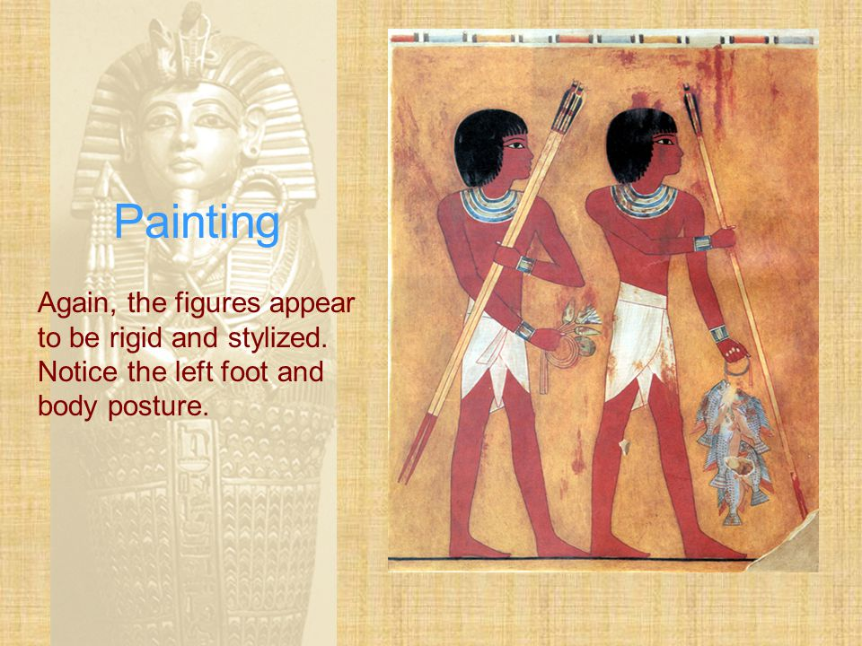 Painting Again, the figures appear to be rigid and stylized. Notice the left foot and body posture.