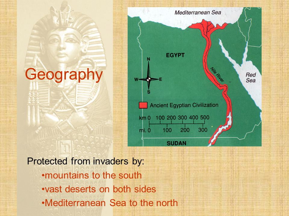 Geography Protected from invaders by: mountains to the south