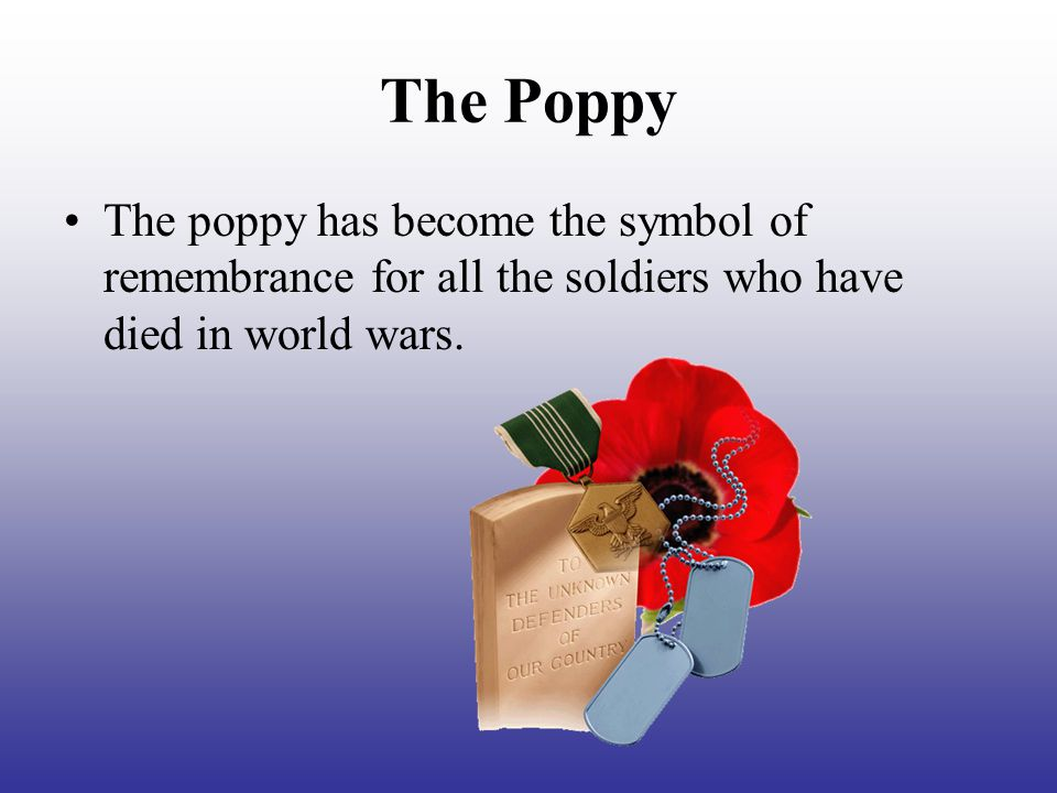 The Poppy The poppy has become the symbol of remembrance for all the soldiers who have died in world wars.