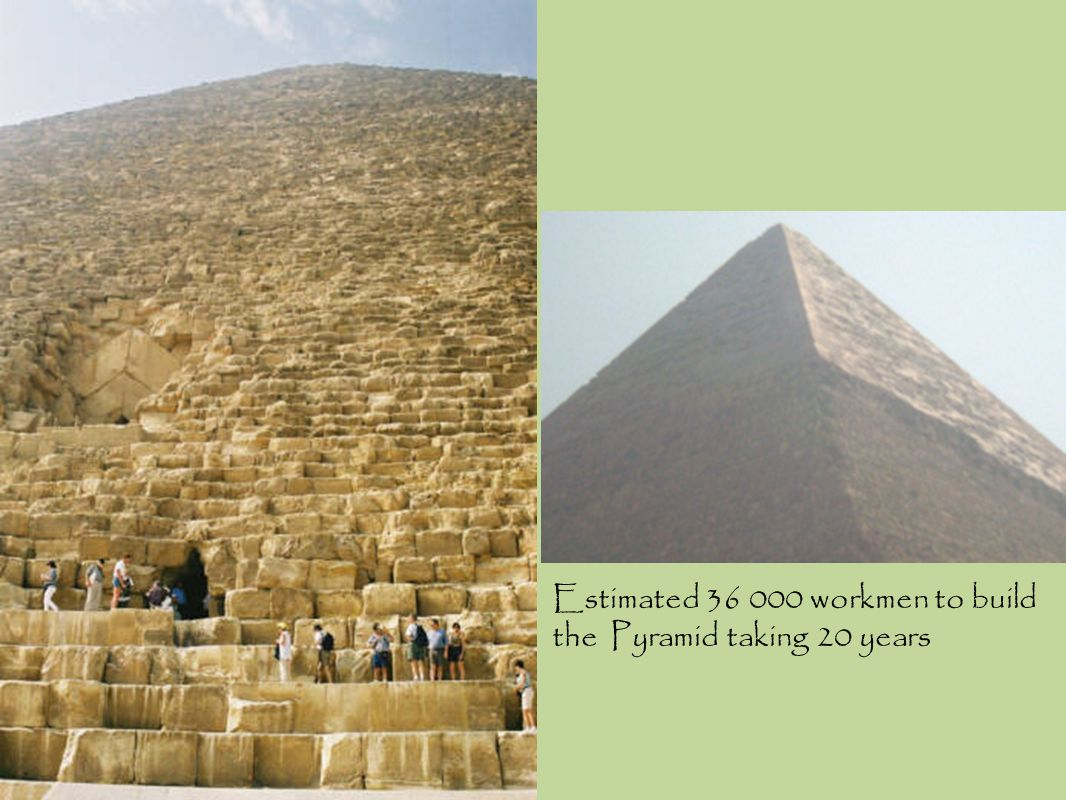 Estimated 36 000 workmen to build the Pyramid taking 20 years