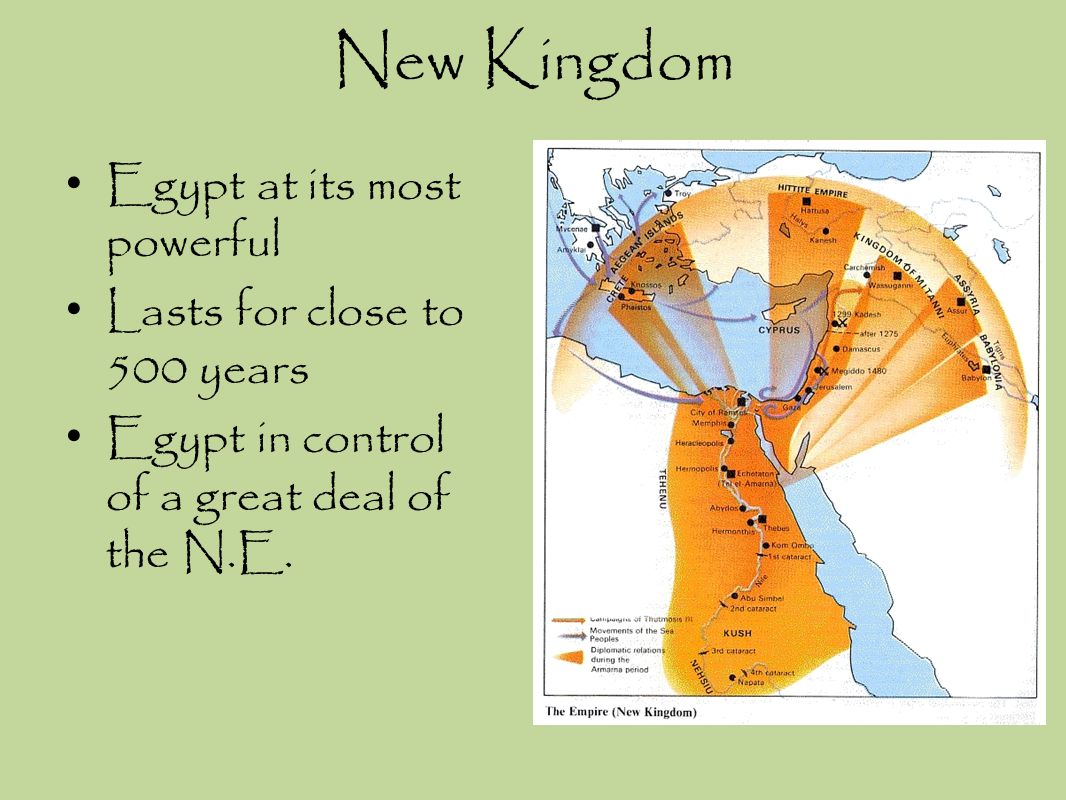 New Kingdom Egypt at its most powerful Lasts for close to 500 years