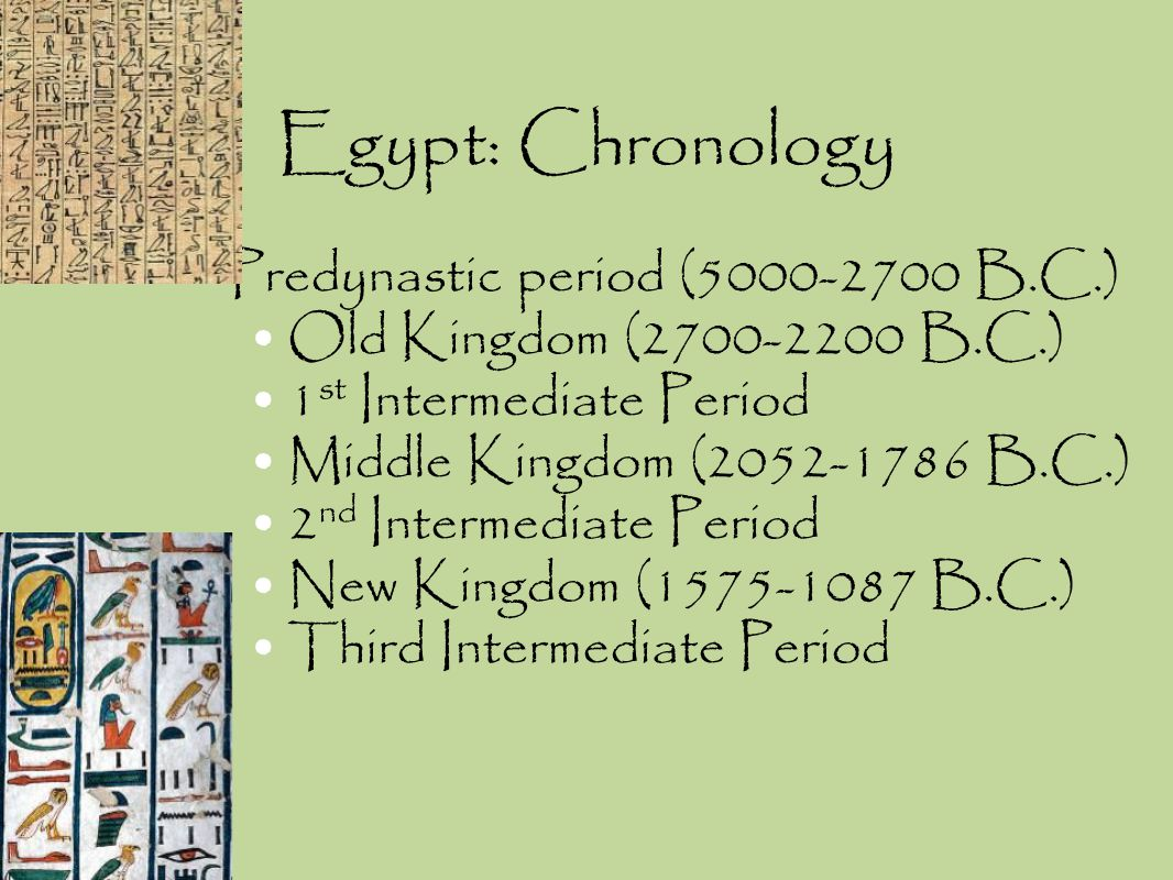 Egypt: Chronology Predynastic period (5000-2700 B.C.)
