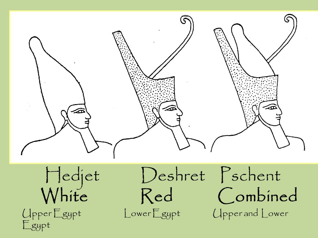 Hedjet Deshret Pschent White Red Combined Upper Egypt Lower Egypt Upper and Lower Egypt