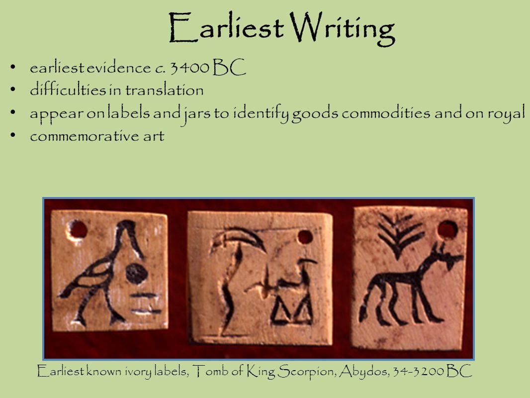 Earliest Writing earliest evidence c. 3400 BC