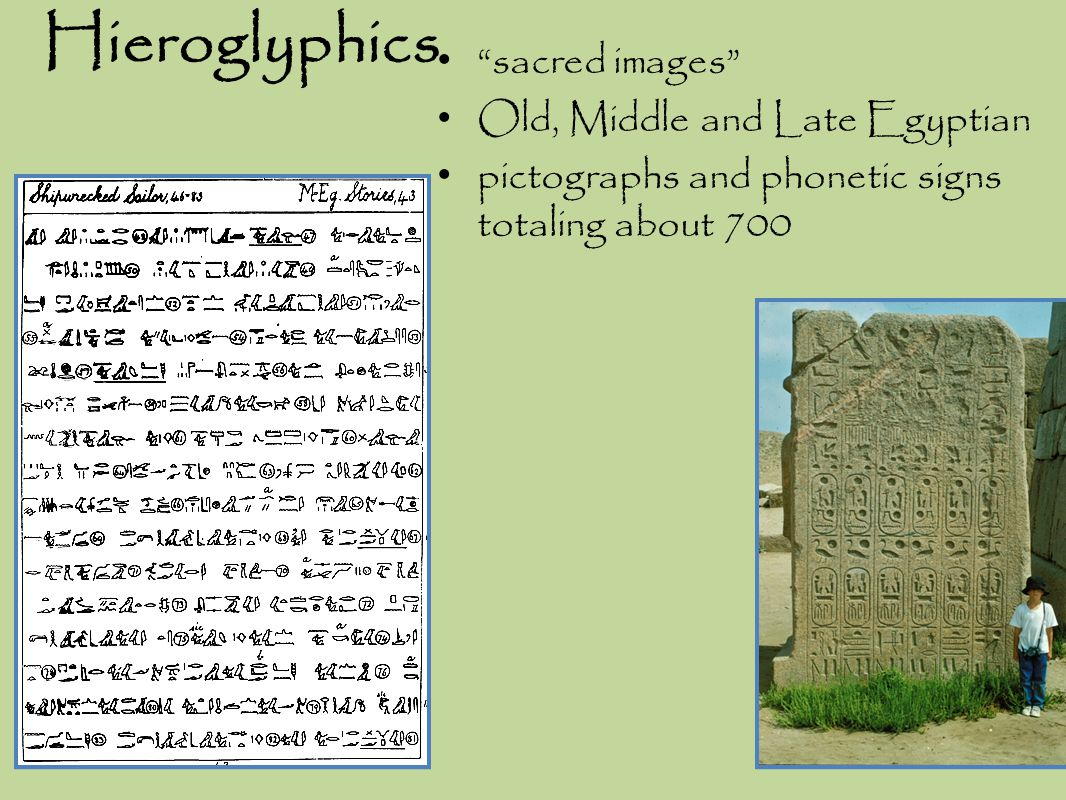 Hieroglyphics sacred images Old, Middle and Late Egyptian