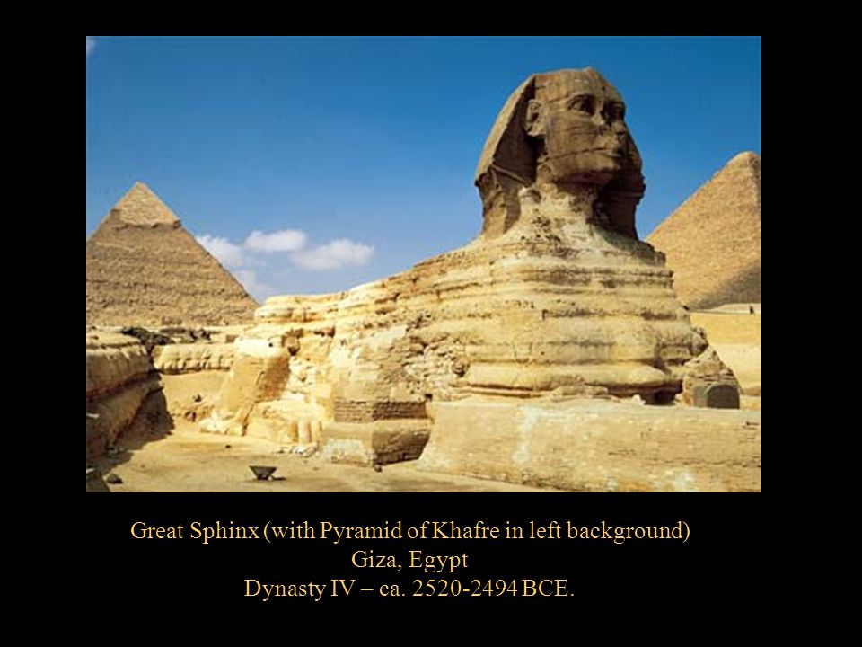 Great Sphinx (with Pyramid of Khafre in left background)