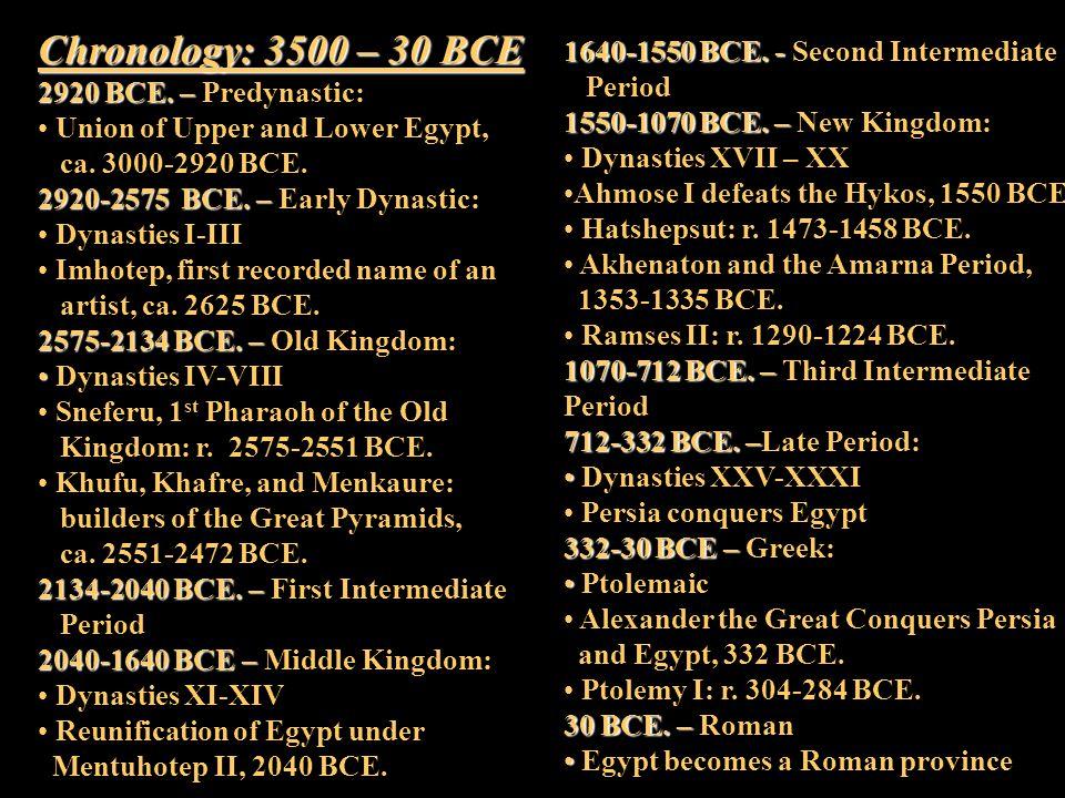 Chronology: 3500 – 30 BCE 1640-1550 BCE. - Second Intermediate