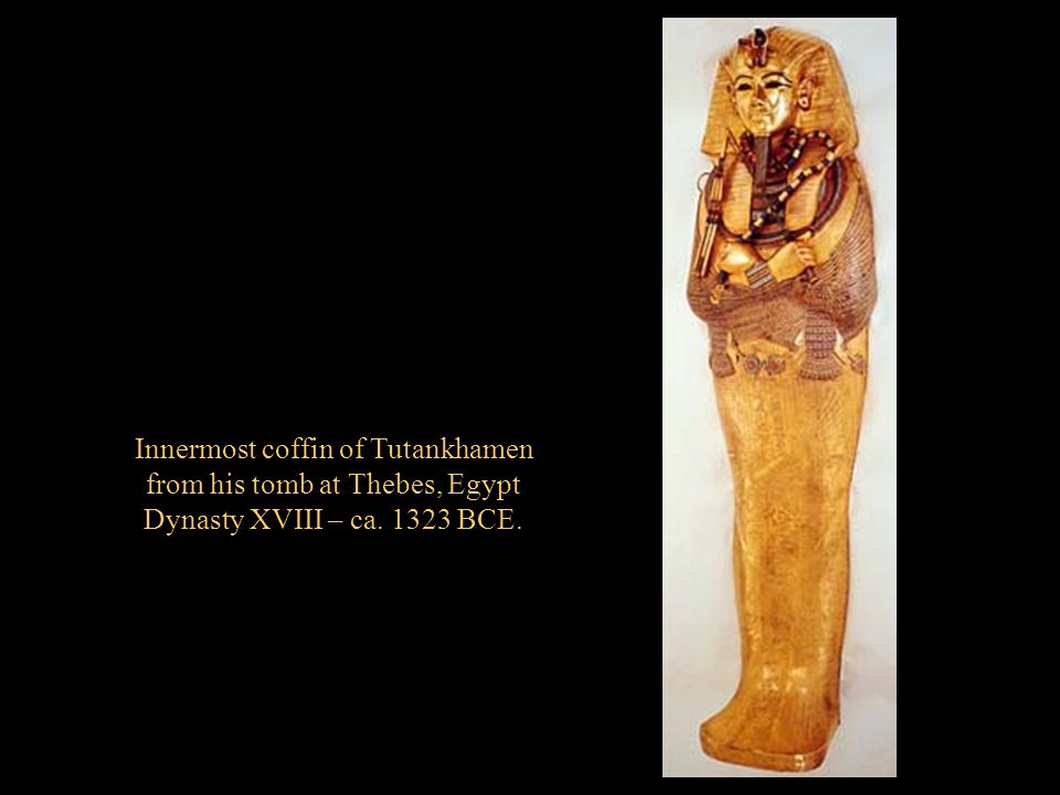 Innermost coffin of Tutankhamen from his tomb at Thebes, Egypt