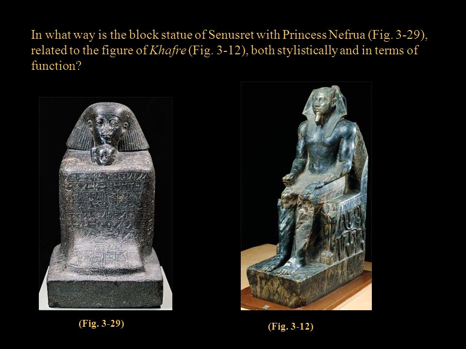 In what way is the block statue of Senusret with Princess Nefrua (Fig