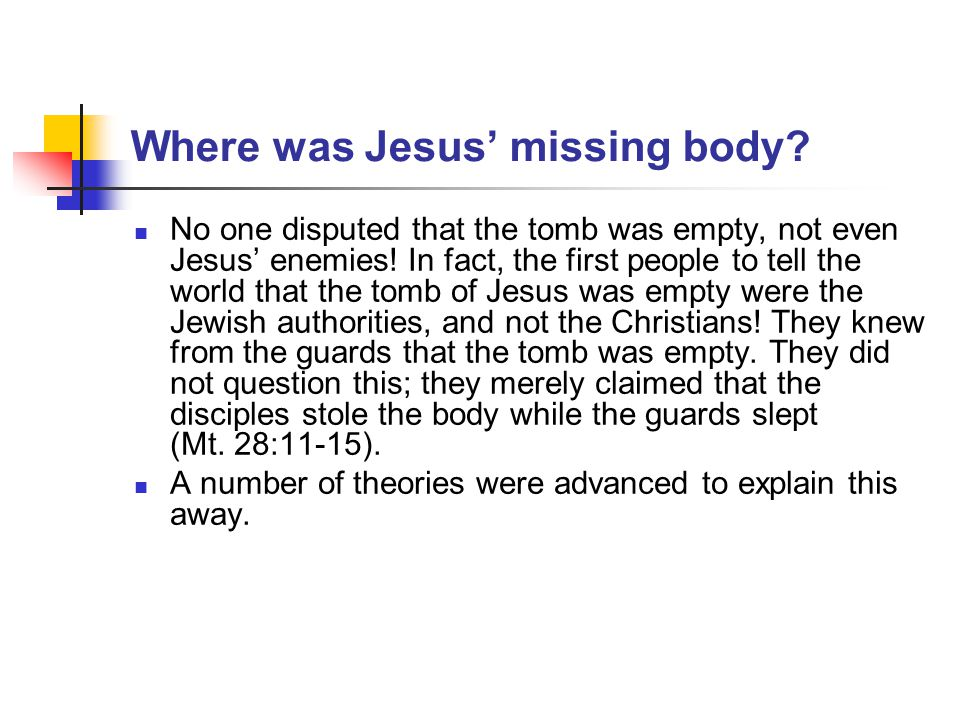 Where was Jesus' missing body