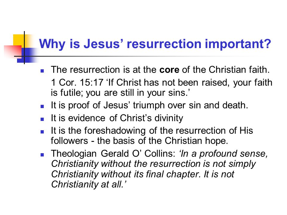 Why is Jesus' resurrection important