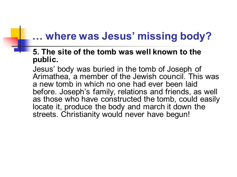 … where was Jesus' missing body