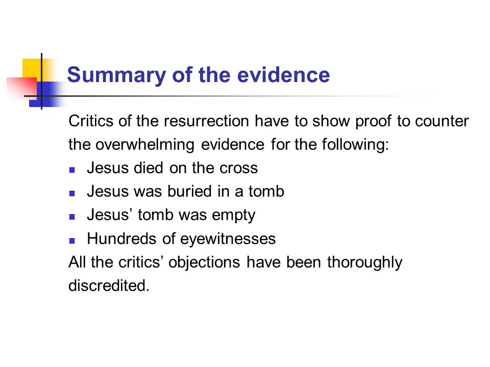 Summary of the evidence
