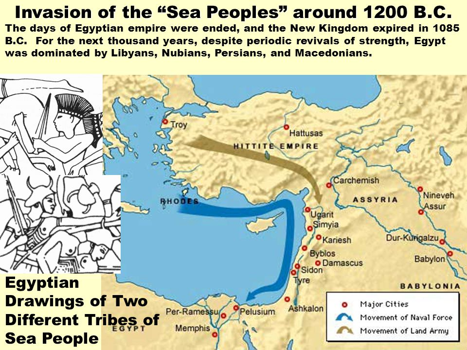 Invasion of the Sea Peoples around 1200 B.C.