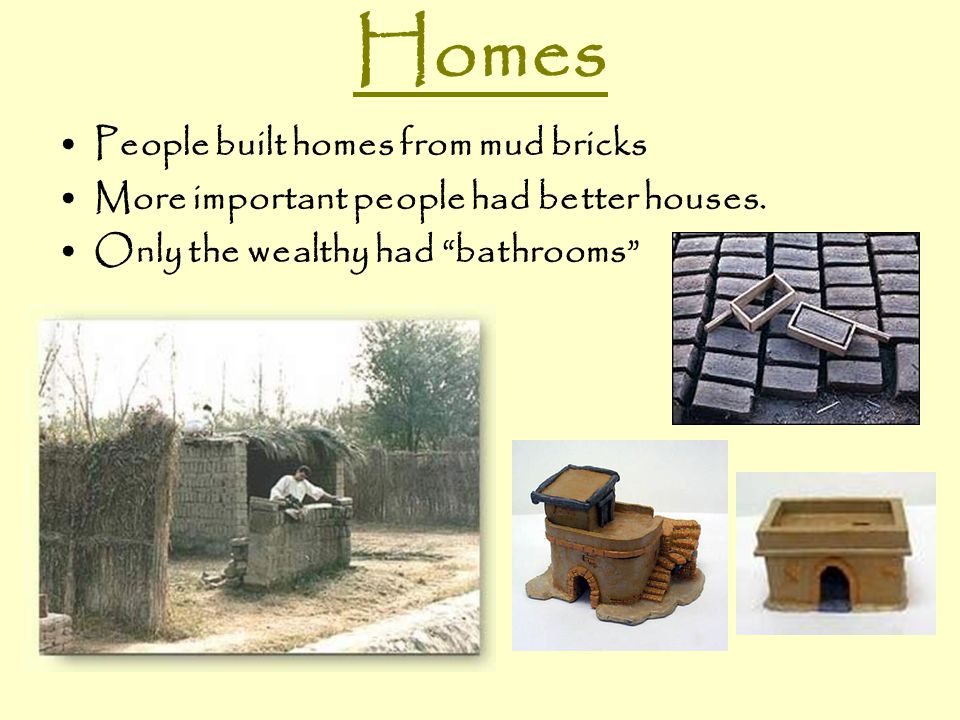 Homes People built homes from mud bricks