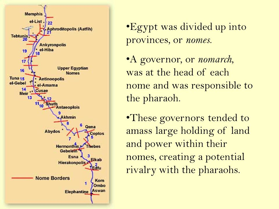Egypt was divided up into provinces, or nomes.