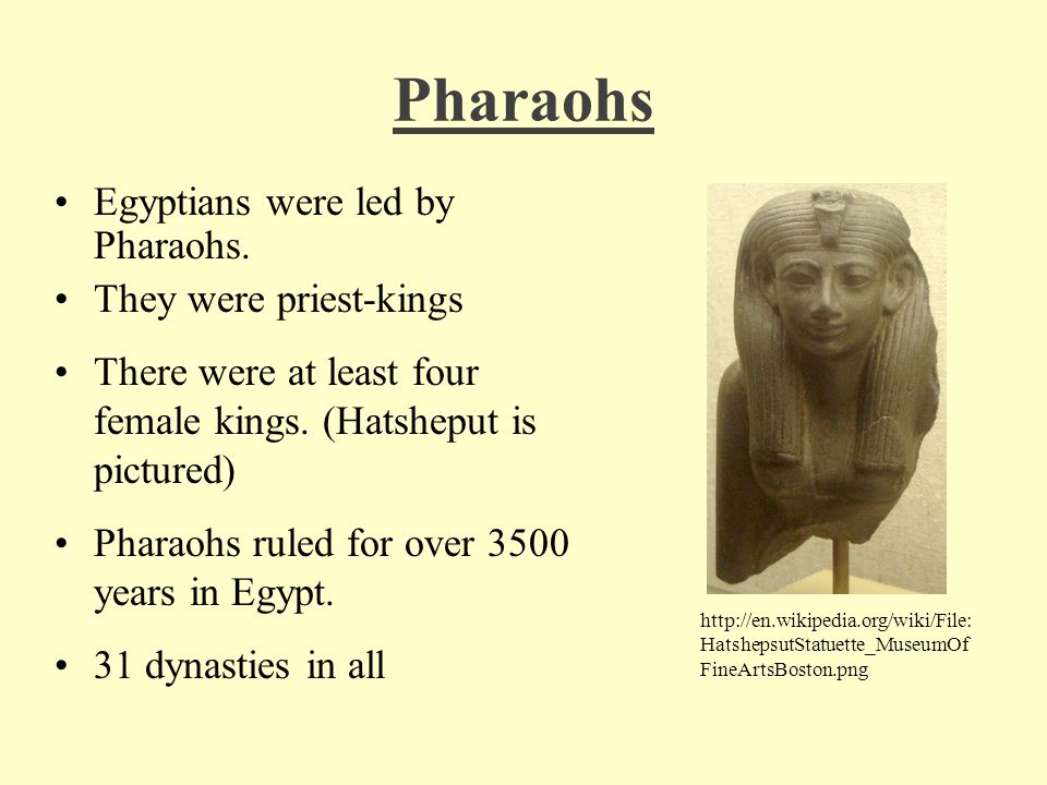 Pharaohs Egyptians were led by Pharaohs. They were priest-kings