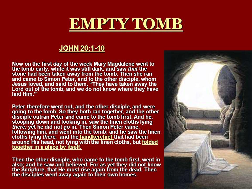 EMPTY TOMB JOHN 20:1-10.