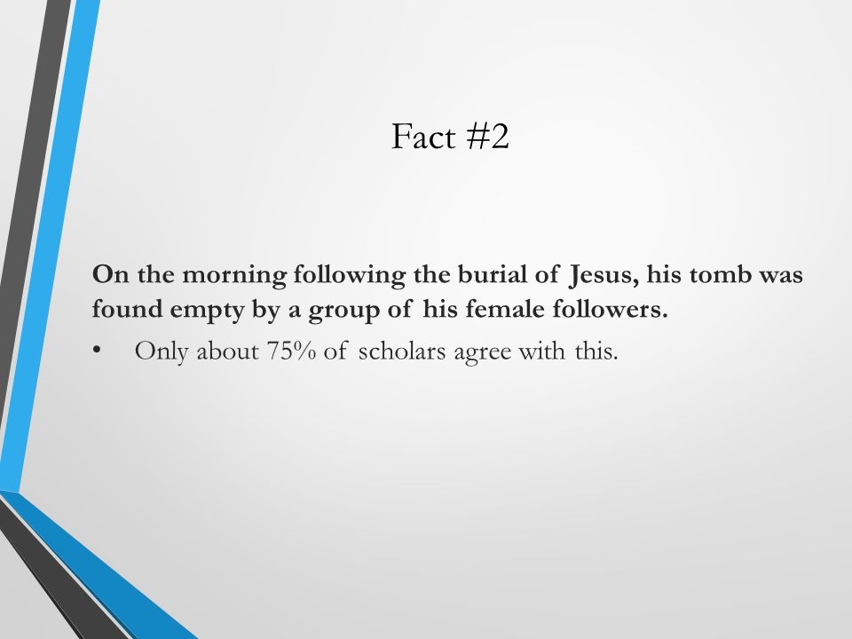 Fact #2 On the morning following the burial of Jesus, his tomb was found empty by a group of his female followers.