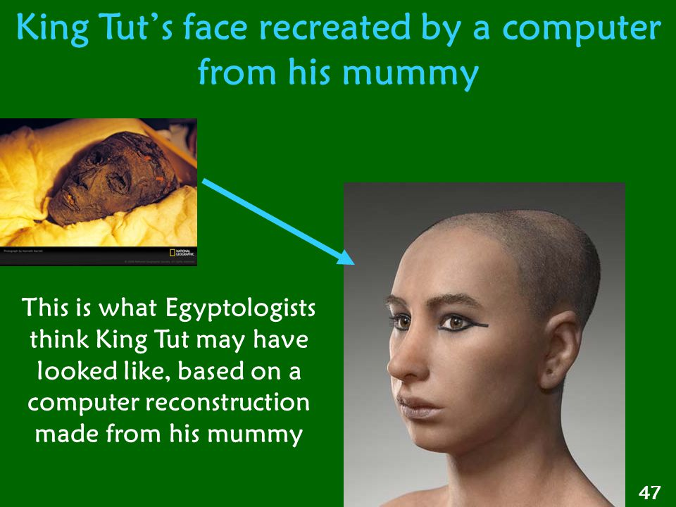 King Tut's face recreated by a computer from his mummy