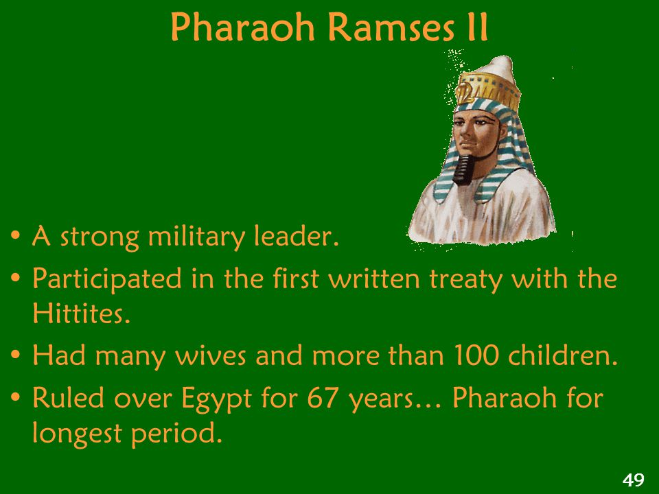 Pharaoh Ramses II A strong military leader.