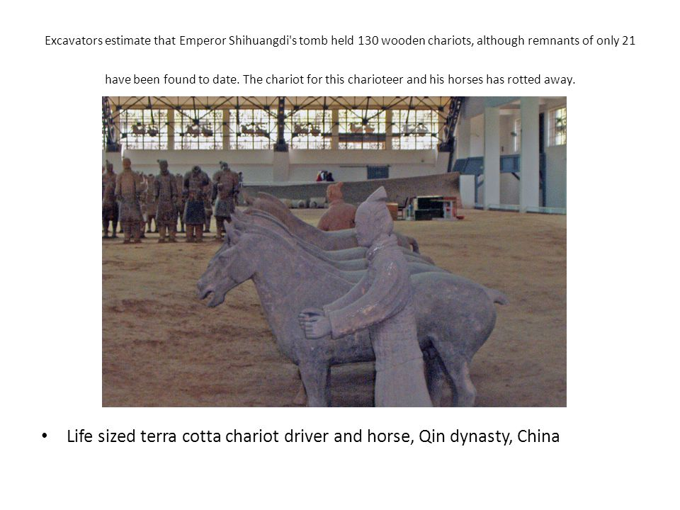 Life sized terra cotta chariot driver and horse, Qin dynasty, China