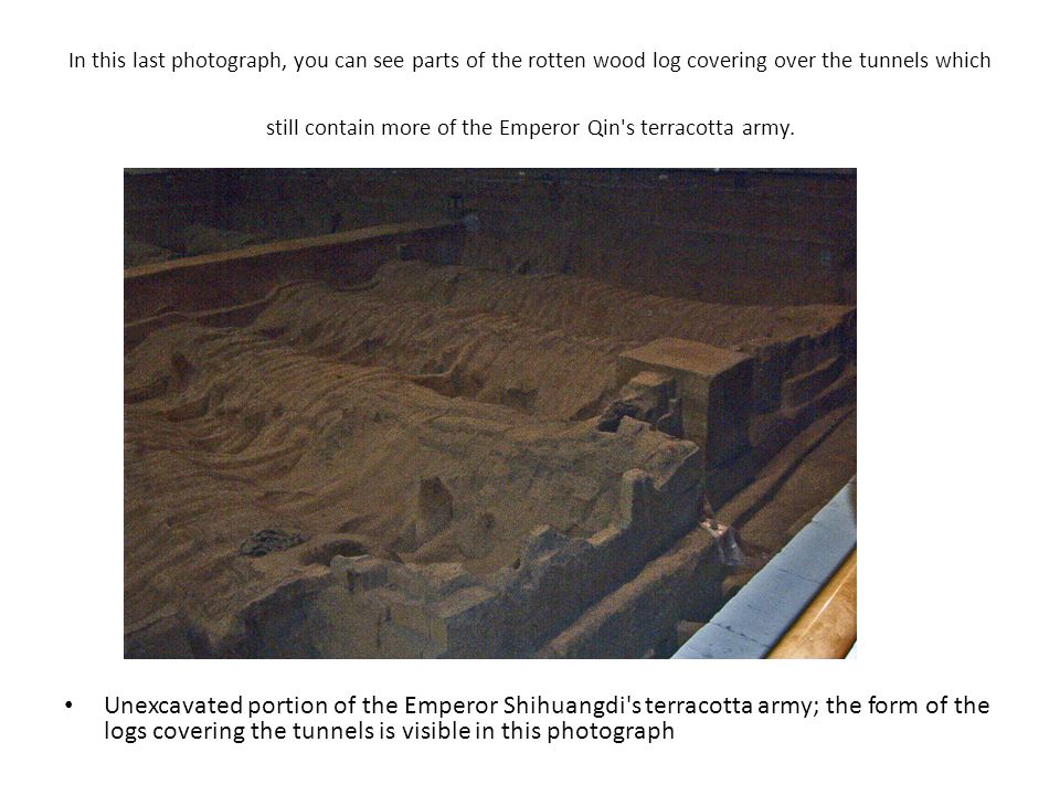 In this last photograph, you can see parts of the rotten wood log covering over the tunnels which still contain more of the Emperor Qin s terracotta army.