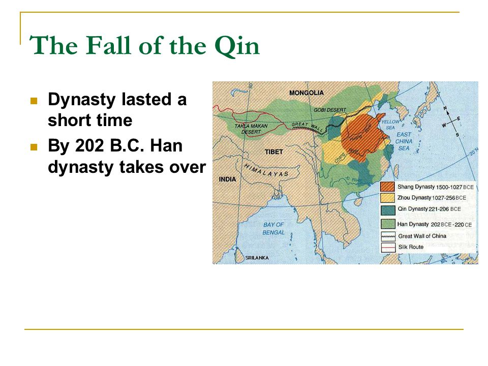 The Fall of the Qin Dynasty lasted a short time