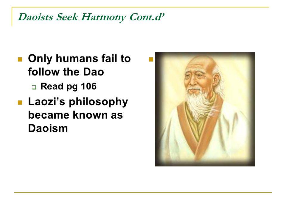 Daoists Seek Harmony Cont.d'