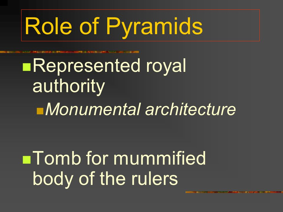 Role of Pyramids Represented royal authority