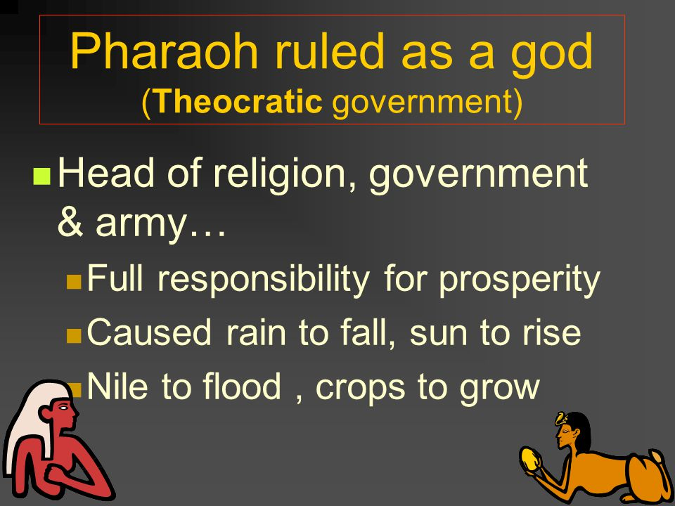 Pharaoh ruled as a god (Theocratic government)