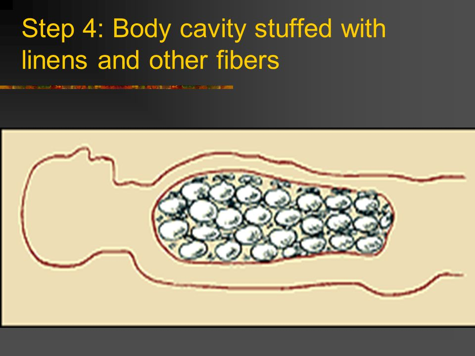 Step 4: Body cavity stuffed with linens and other fibers