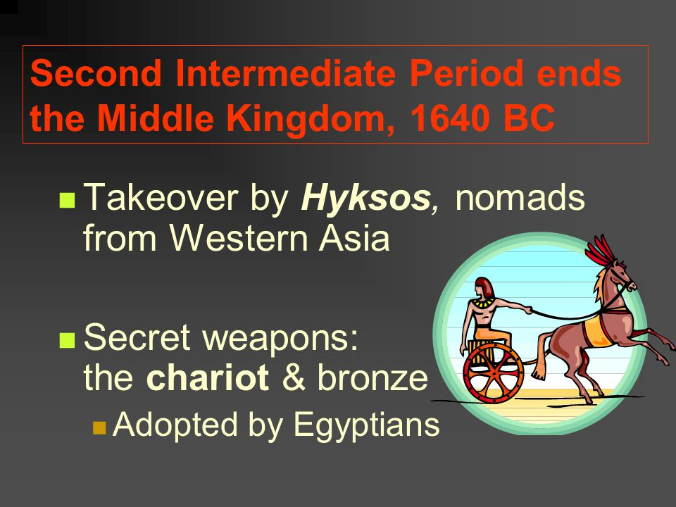Second Intermediate Period ends the Middle Kingdom, 1640 BC