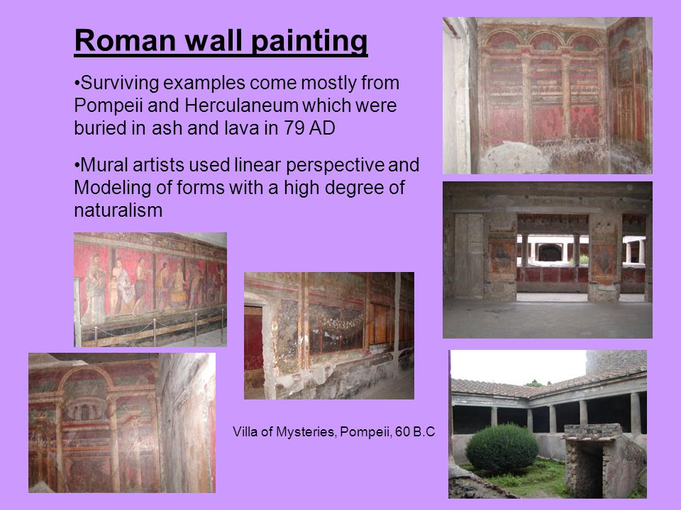 Roman wall painting Surviving examples come mostly from