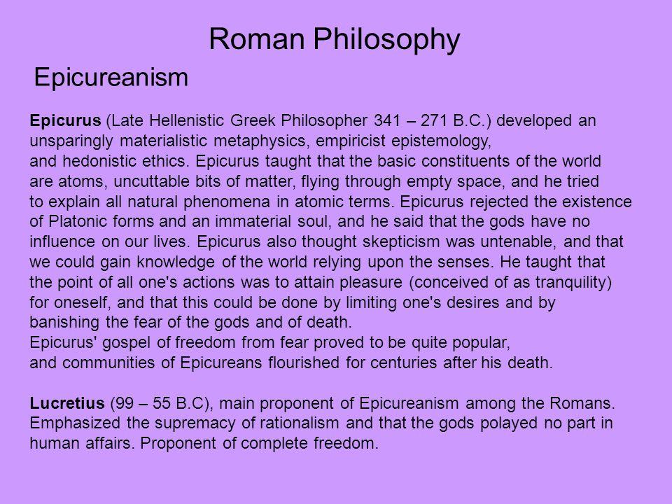 Roman Philosophy Epicureanism
