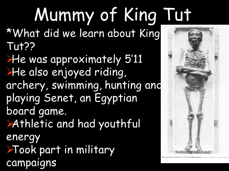 Mummy of King Tut *What did we learn about King Tut