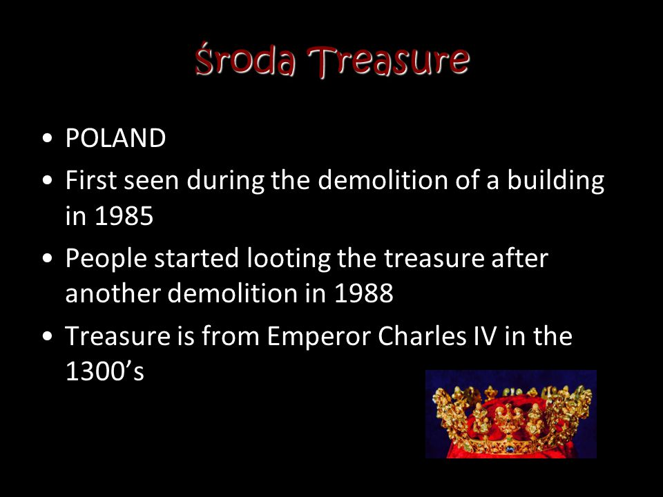 Środa Treasure POLAND. First seen during the demolition of a building in 1985. People started looting the treasure after another demolition in 1988.