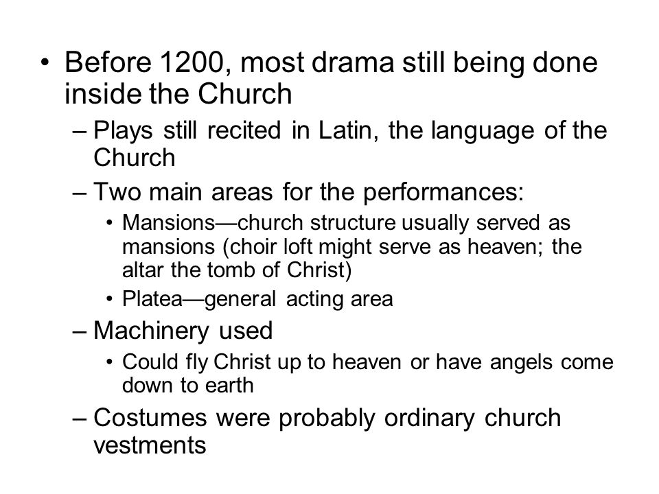 Before 1200, most drama still being done inside the Church