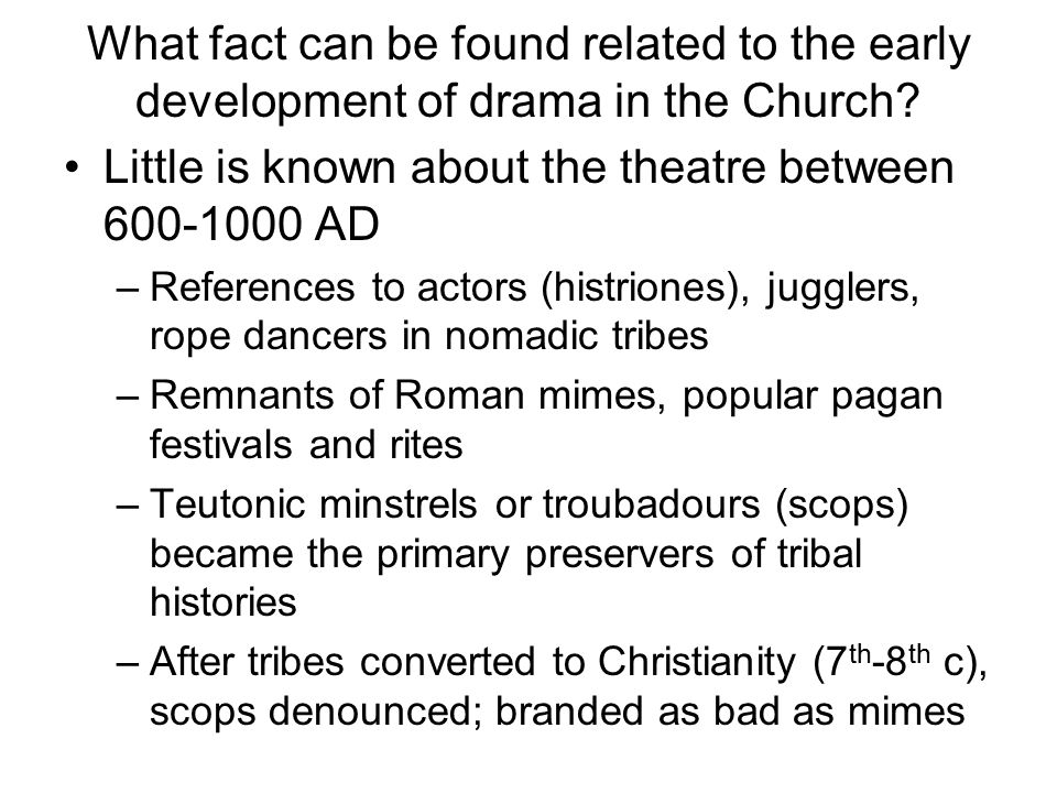 Little is known about the theatre between 600-1000 AD