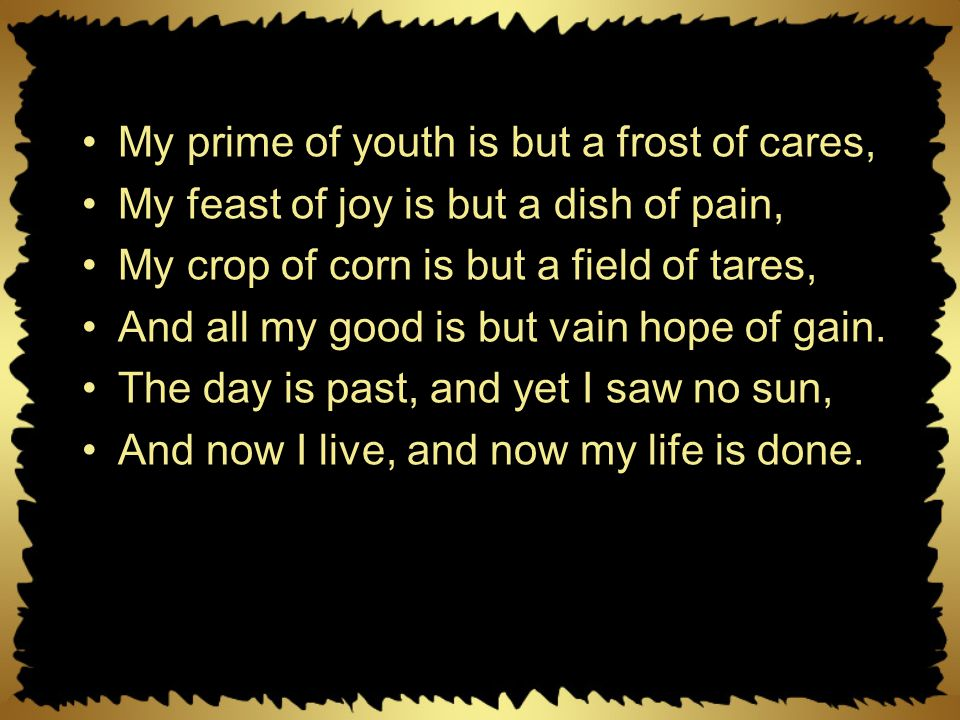 My prime of youth is but a frost of cares,